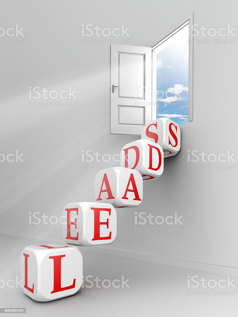 leads red word on dice blocks stock photo