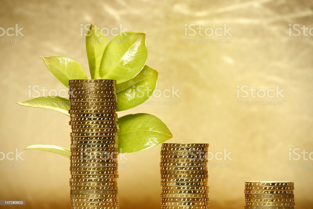 Leaf and Coins royalty-free stock photo