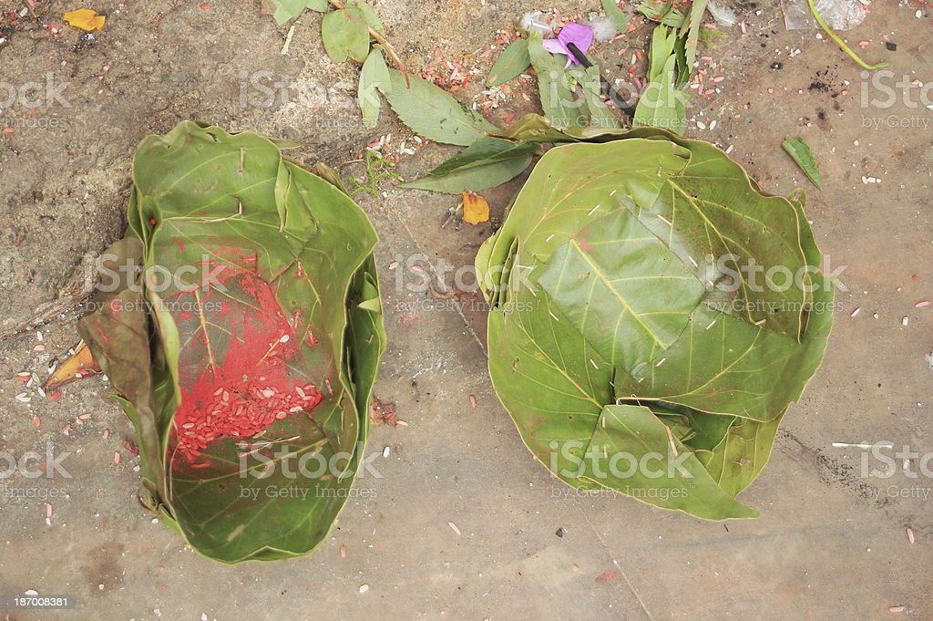 Leaf bowls for offerings. Manakamana Mandir-Nepal. 0343 stock photo