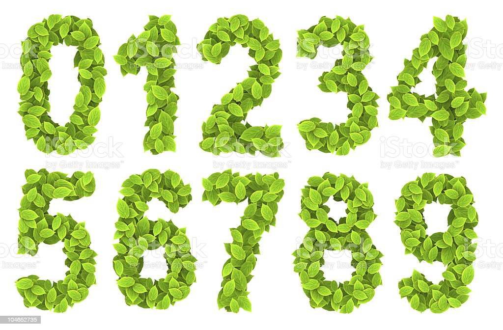 Leaf green font number royalty-free stock photo