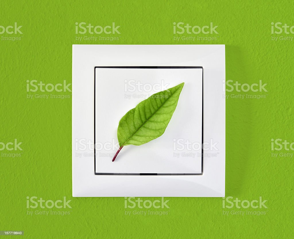 Leaf on light switch against green wall, ecology, energy concept royalty-free stock photo