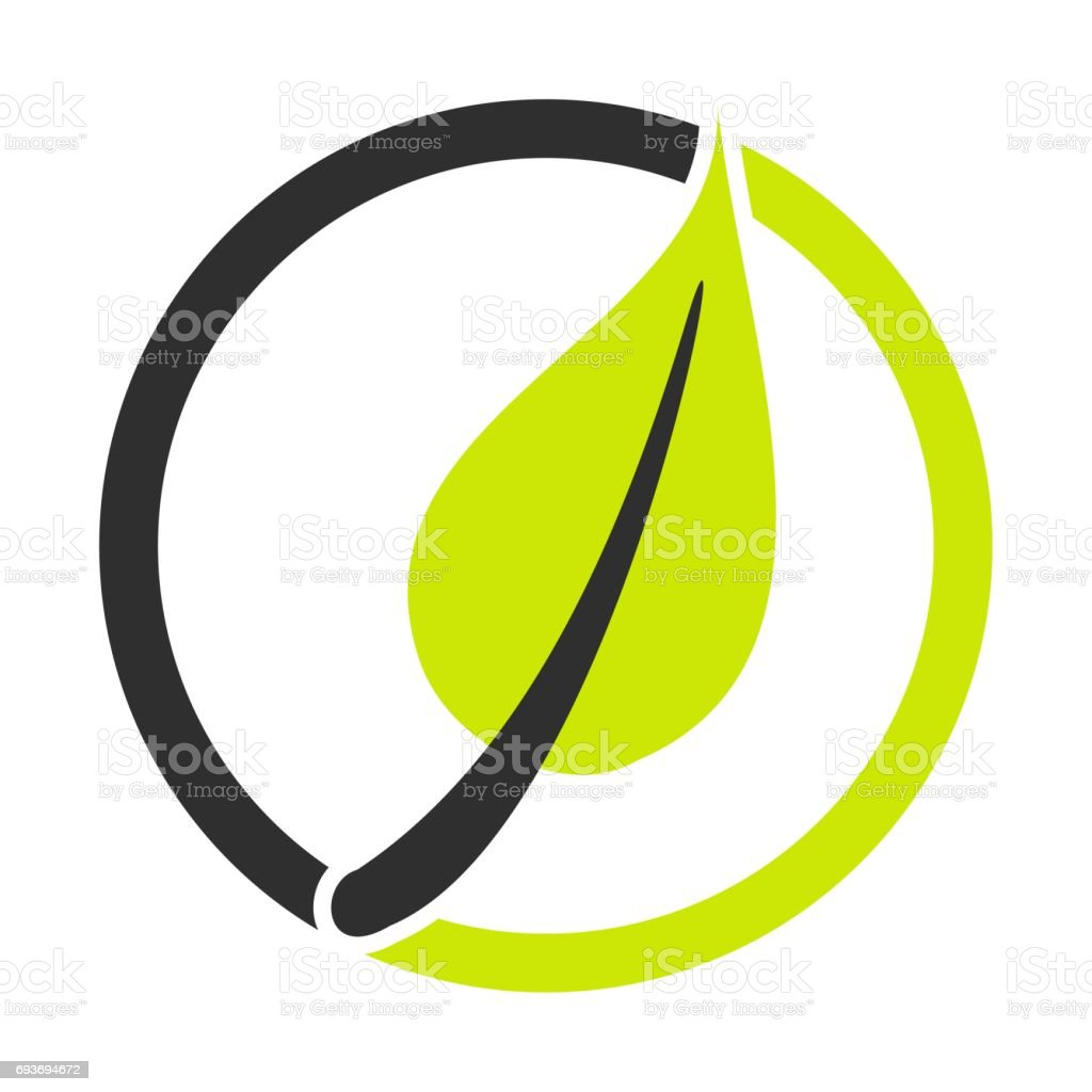 Leaf Symbol green black stock photo