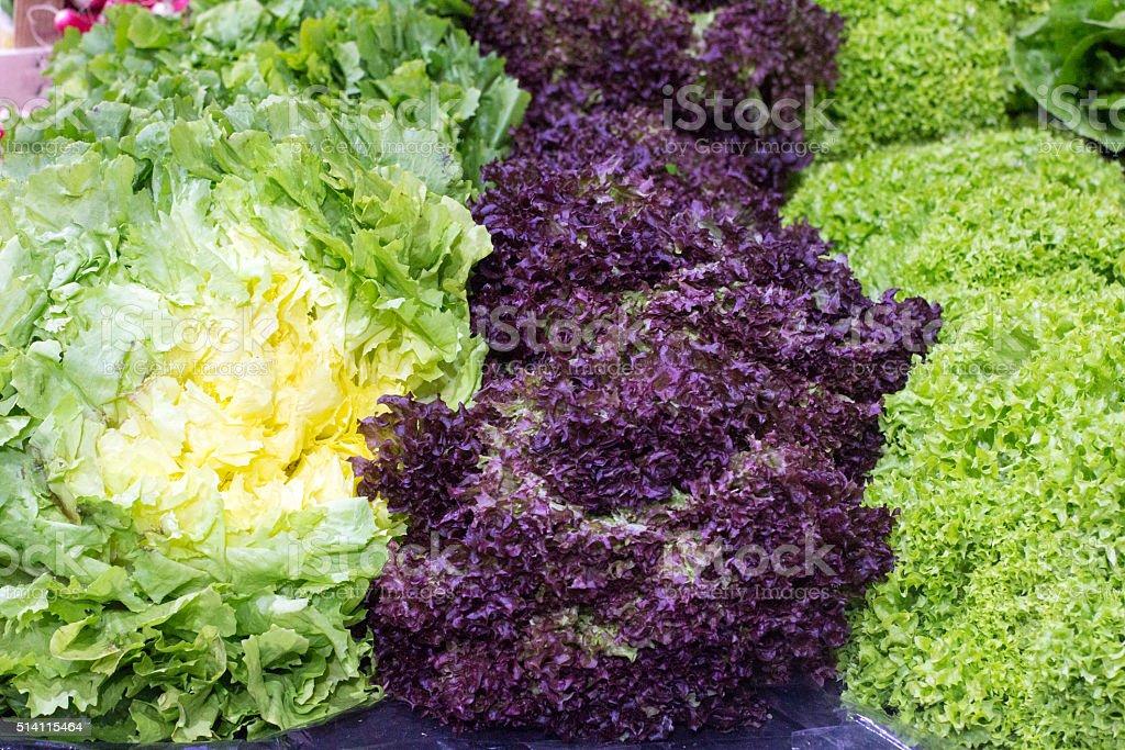 Leaf Vegetables in Borough Market, London stock photo