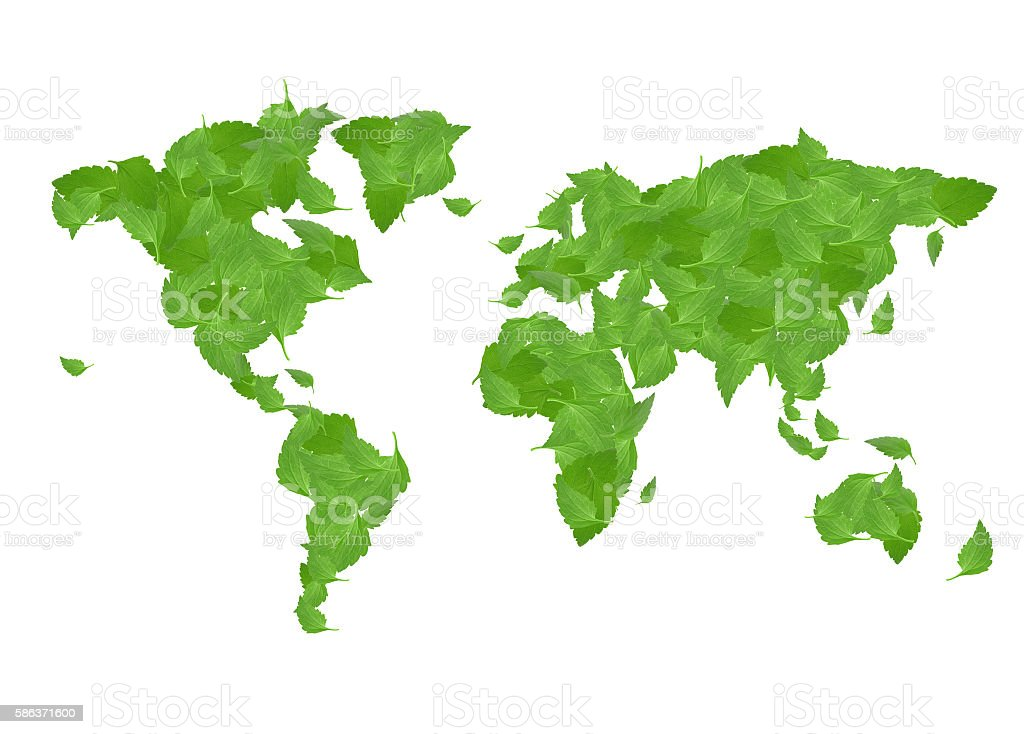 leaf world map for save world concept stock photo