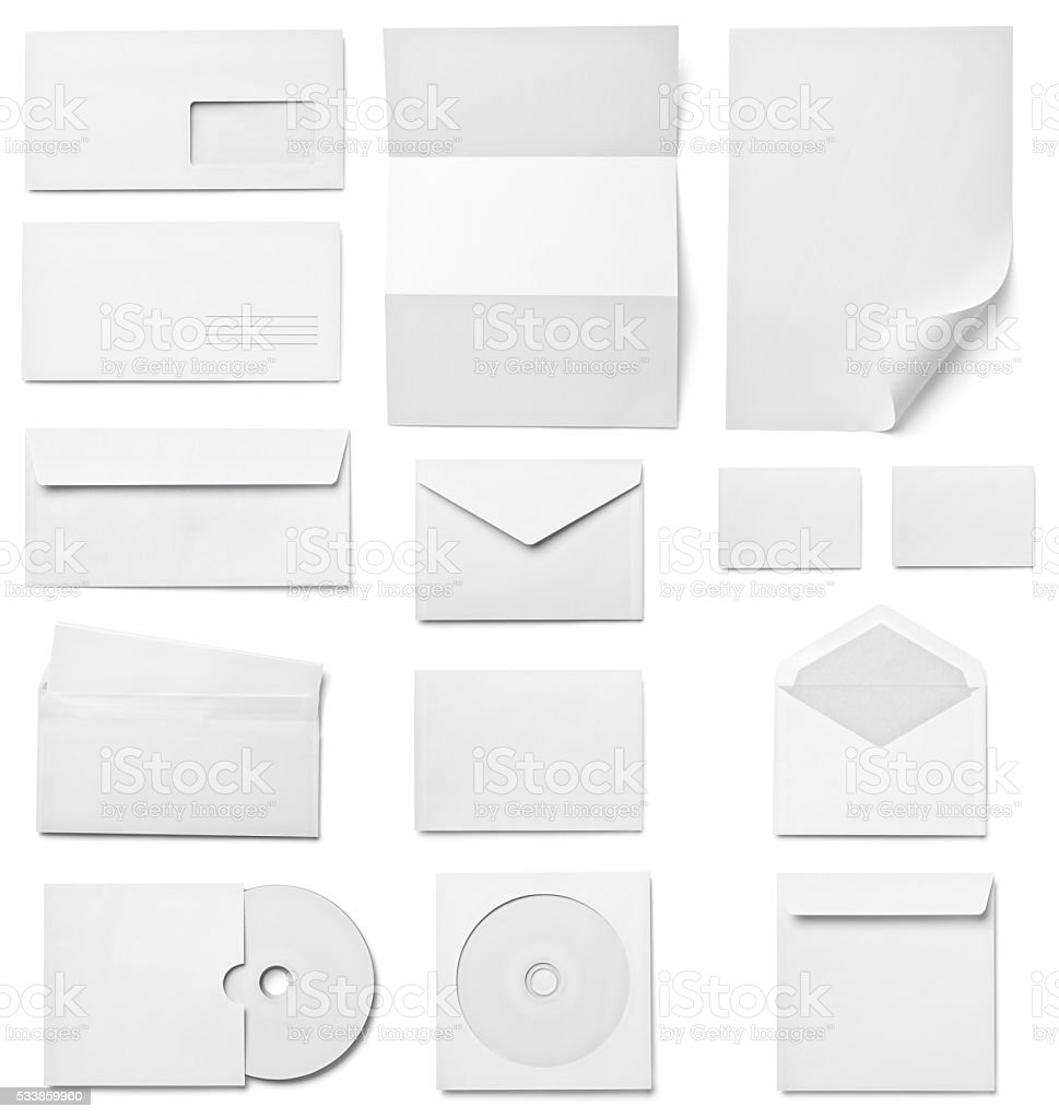 leaflet letter business card white blank paper template stock photo