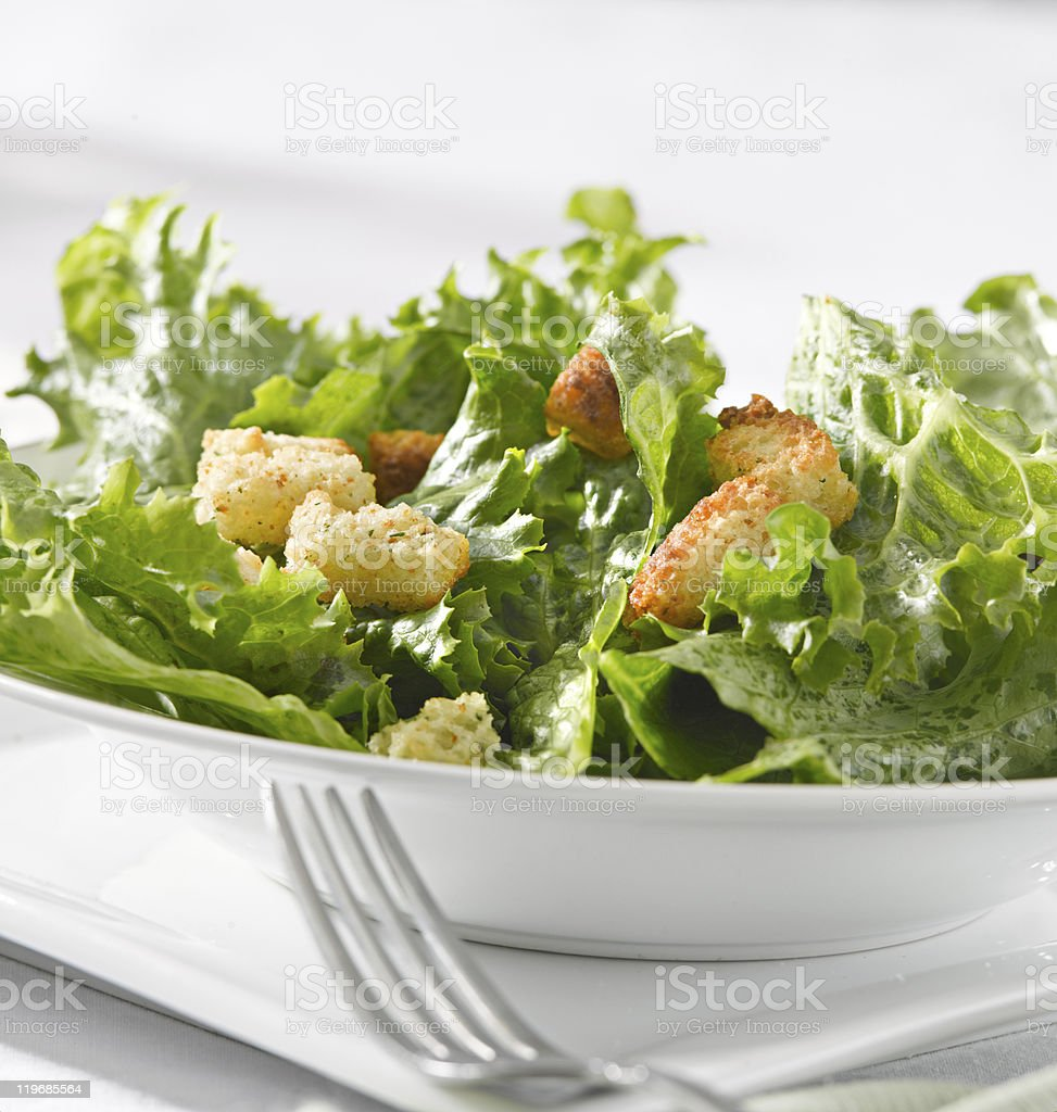 leafy green salad with croutons royalty-free stock photo