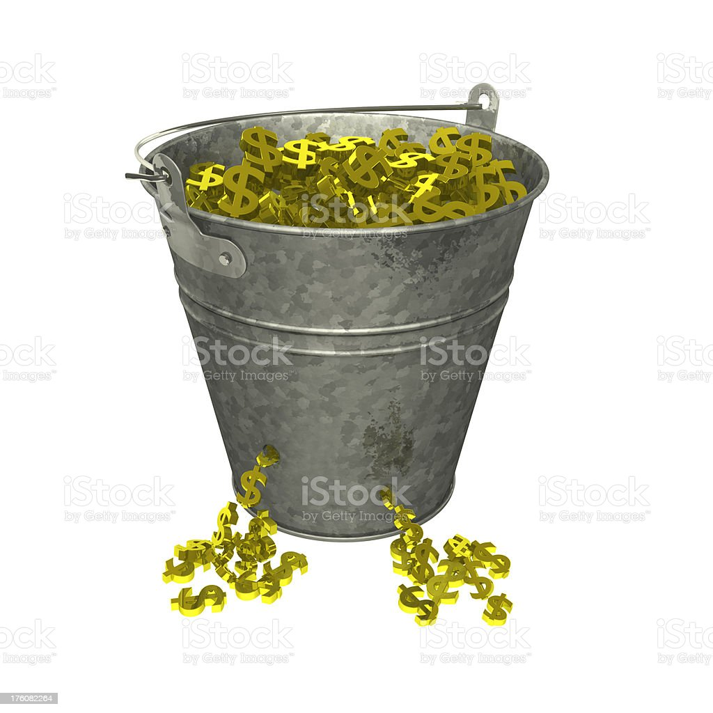 Leaking Bucket of Gold Dollars royalty-free stock photo
