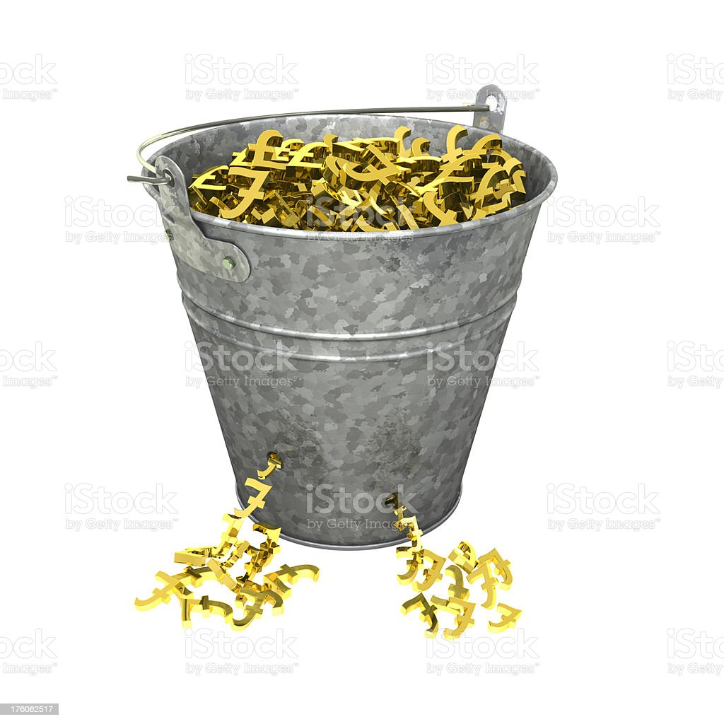 Leaking Bucket of Gold Pound Symbols royalty-free stock photo