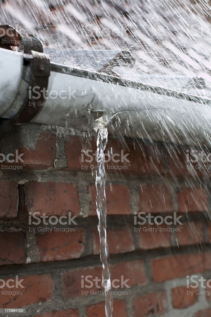 Leaking gutter stock photo