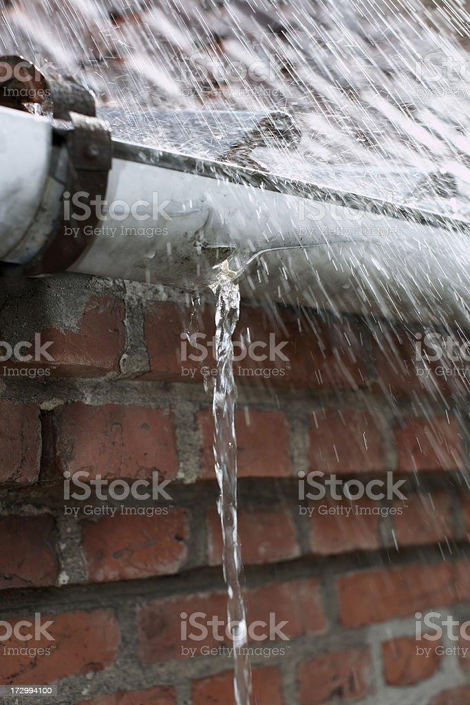 Leaking gutter stock photo