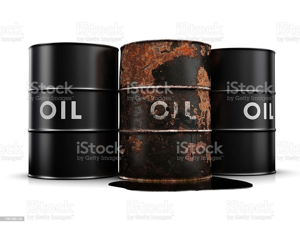 Leaking oil drum royalty-free stock photo