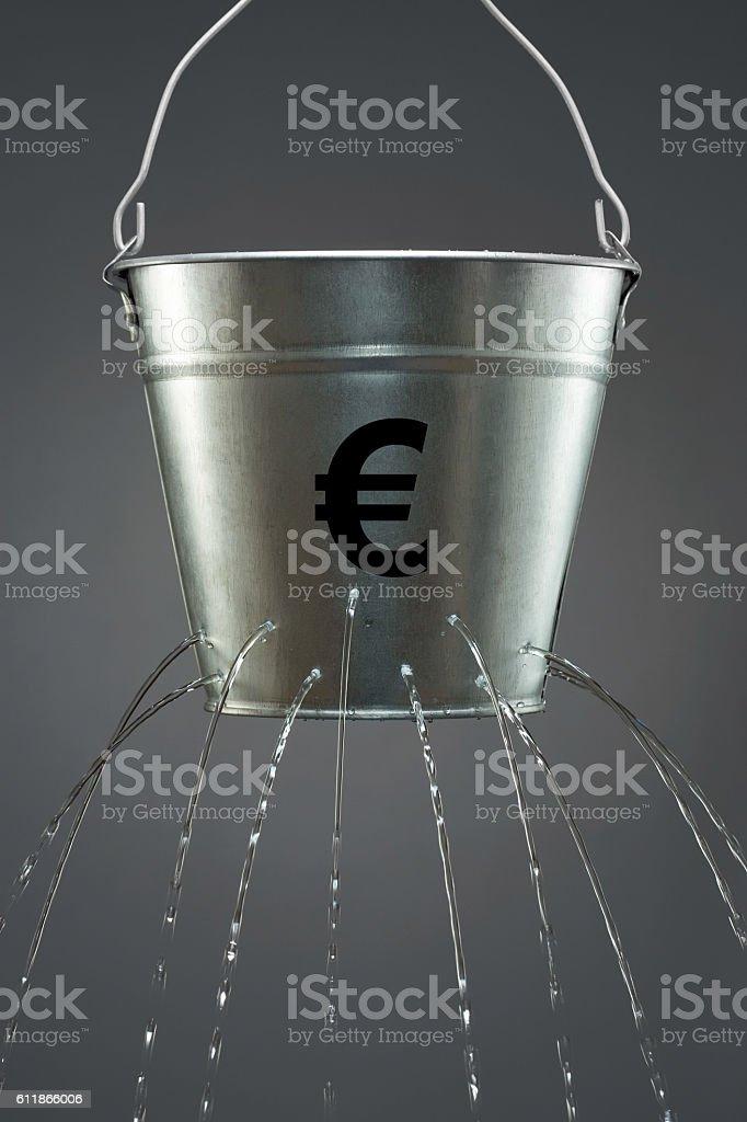 Leaky Euro Bucket stock photo