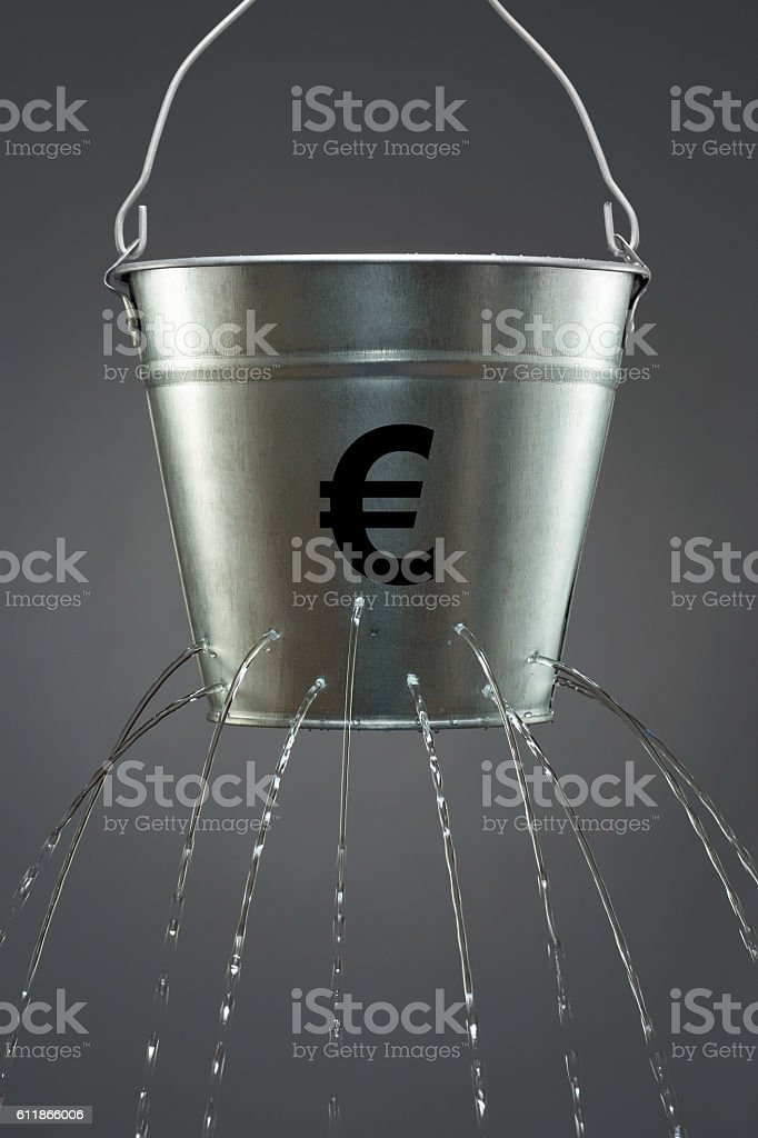 Leaky Euro Bucket stock photo