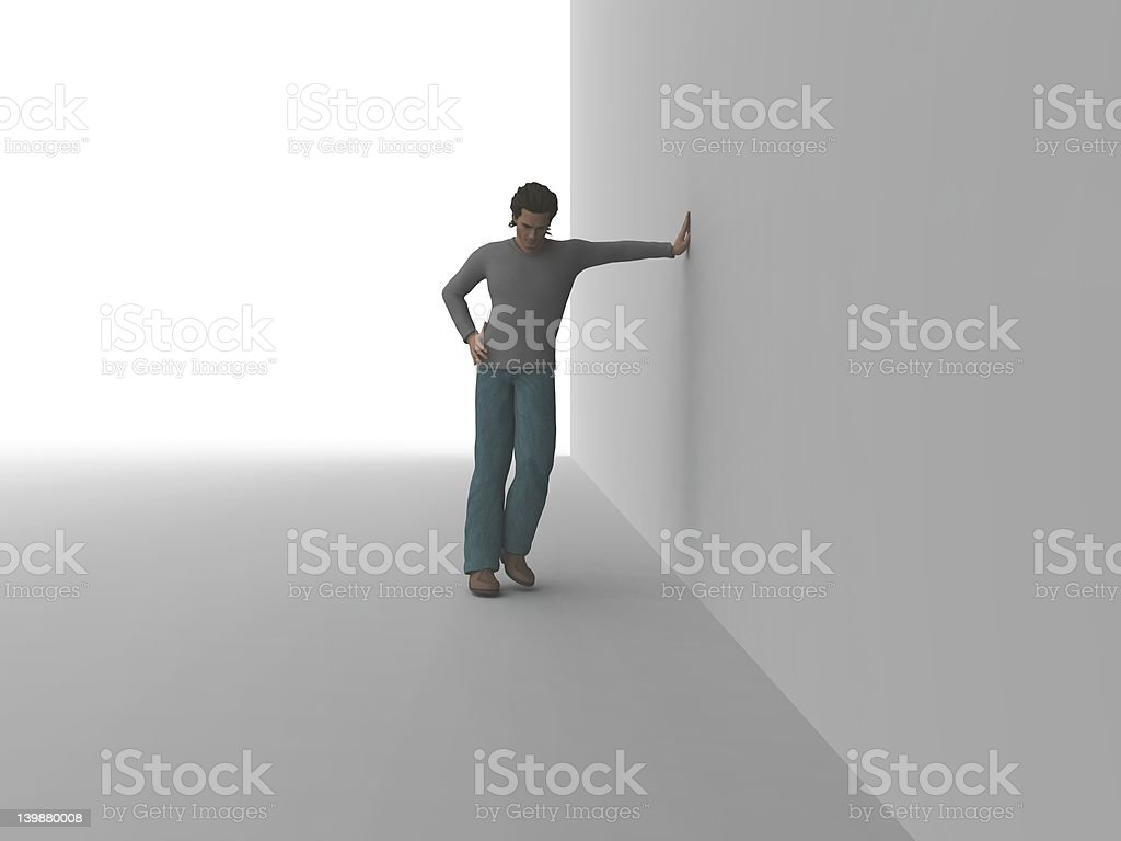 Leaning at the Wall stock photo