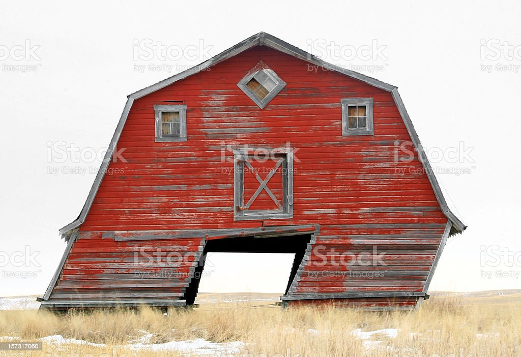 Leaning Barn stock photo