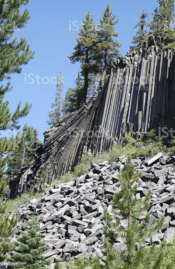 Leaning Basalt Rock Columns royalty-free stock photo