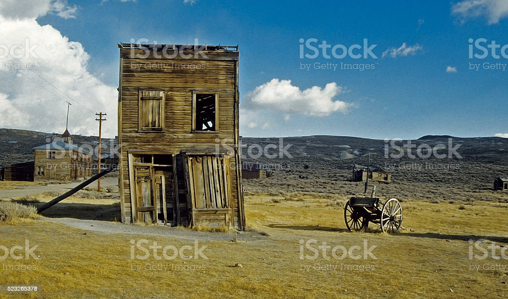 Leaning Building in Ghost Town stock photo