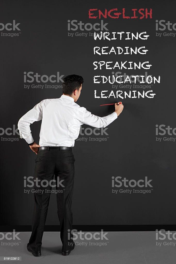 Leaning English stock photo