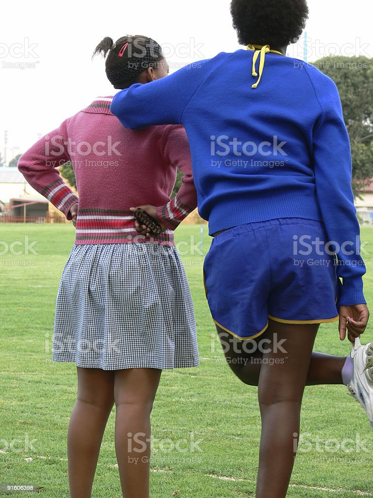 Leaning on a friend. royalty-free stock photo