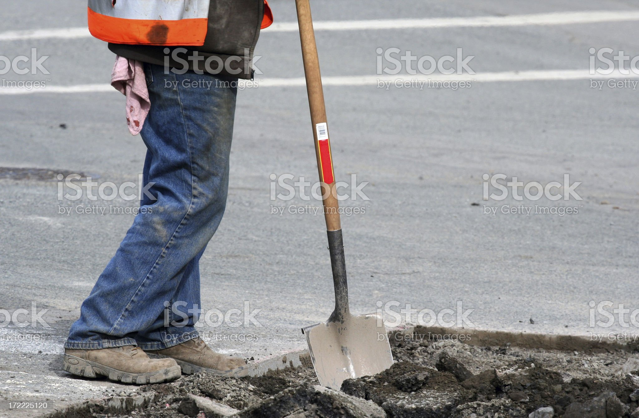Leaning On A Shovel royalty-free stock photo