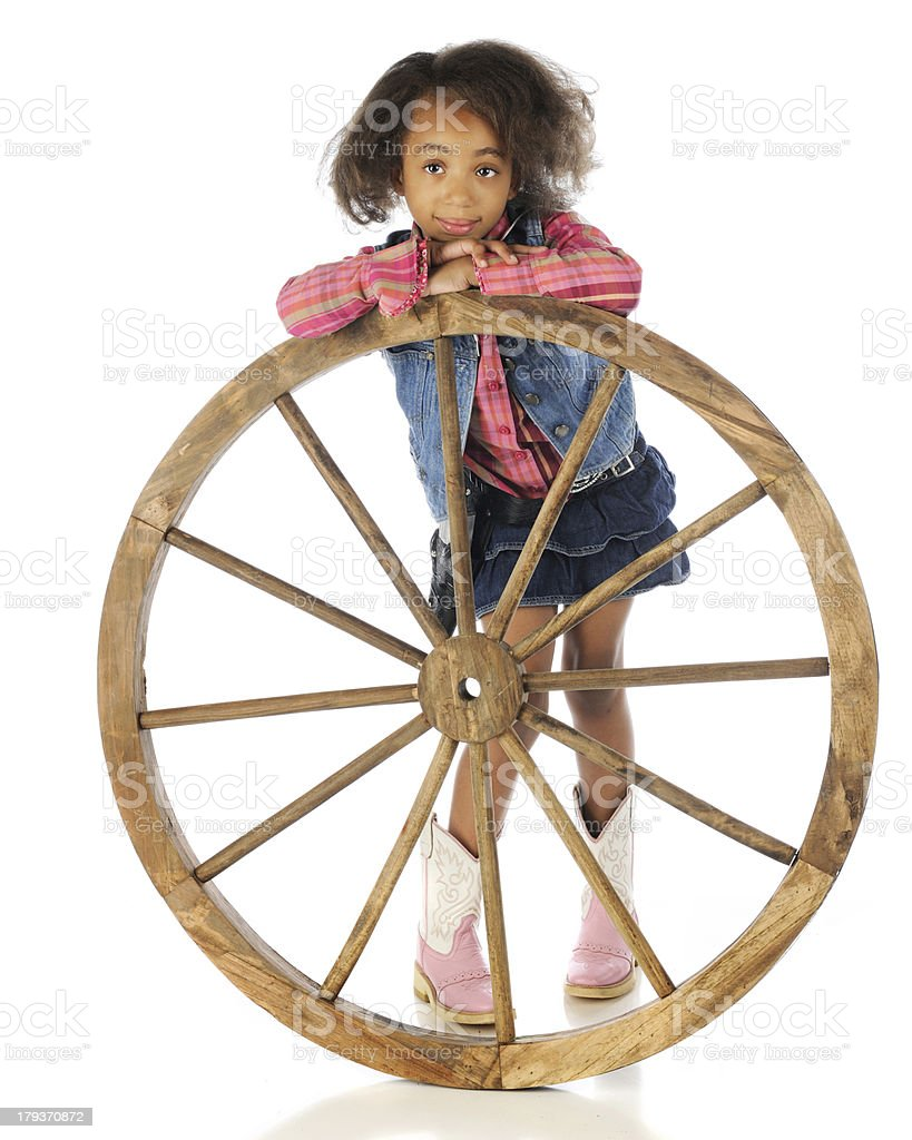 Leaning on the Wheel royalty-free stock photo