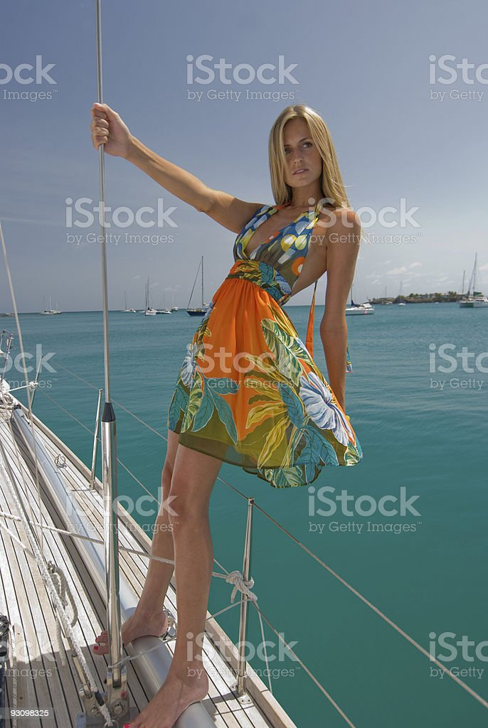 Leaning Out. stock photo