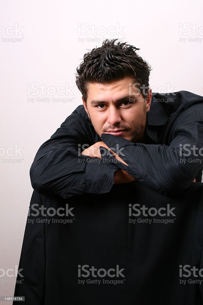 Leaning royalty-free stock photo