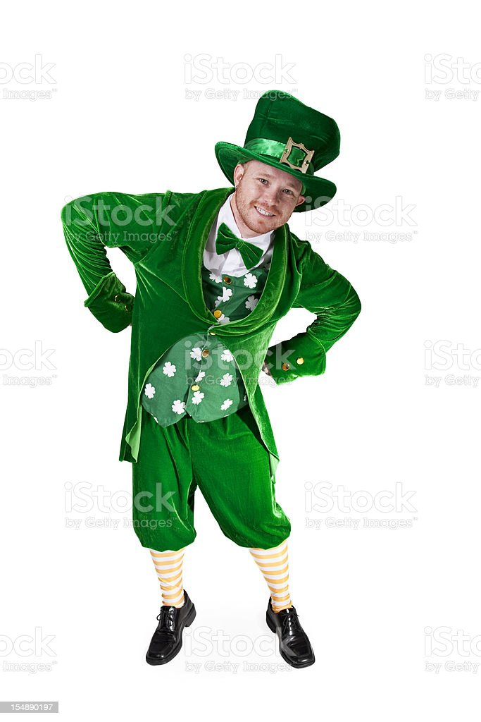 Leaning Smiling Leprechaun stock photo