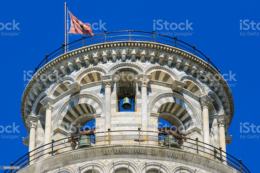 Leaning Tower and Blue Sky, Piazza del Duomo, Pisa, Italy. stock photo