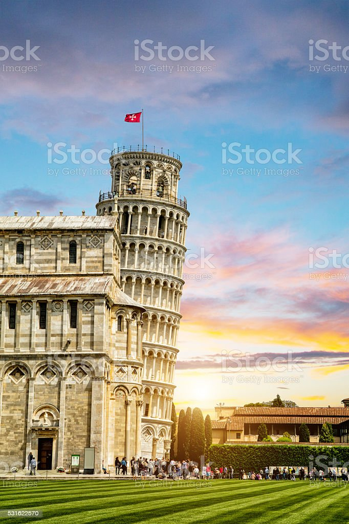 Leaning tower and the cathedral baptistery, Italy stock photo