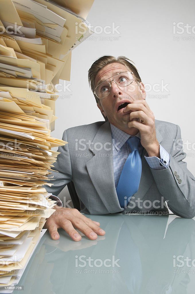Leaning Tower of Files royalty-free stock photo