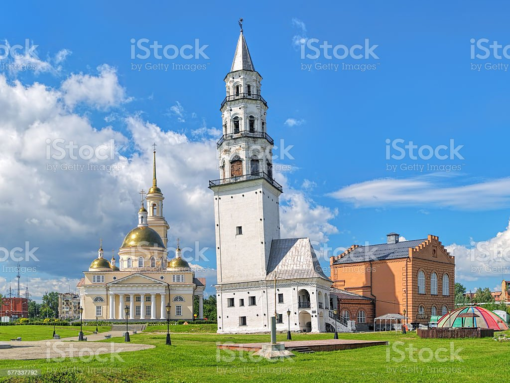 Leaning Tower of Nevyansk and Transfiguration Cathedral, Russia stock photo
