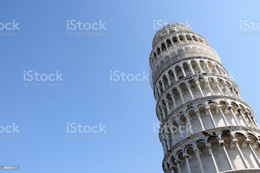 Leaning Tower of Pisa Against Clear Blue Sky stock photo