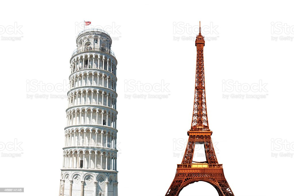 Leaning Tower of Pisa and The Eiffel Tower Isolated stock photo