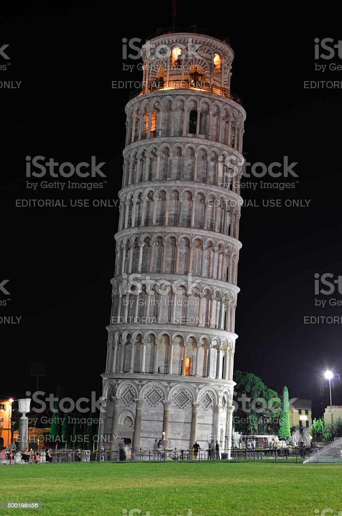 Leaning Tower of Pisa by night stock photo
