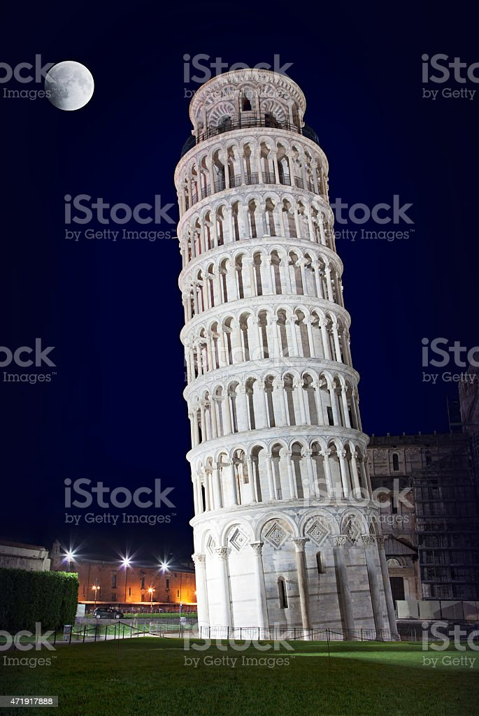 Leaning Tower of Pisa in the night stock photo