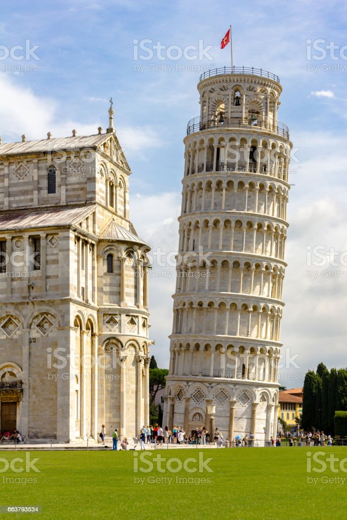 Leaning tower of Pisa. Piazza del Duomo stock photo