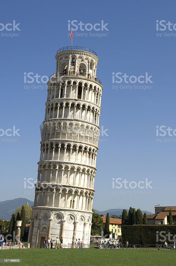 Leaning Tower of Pisa with a flag on top stock photo