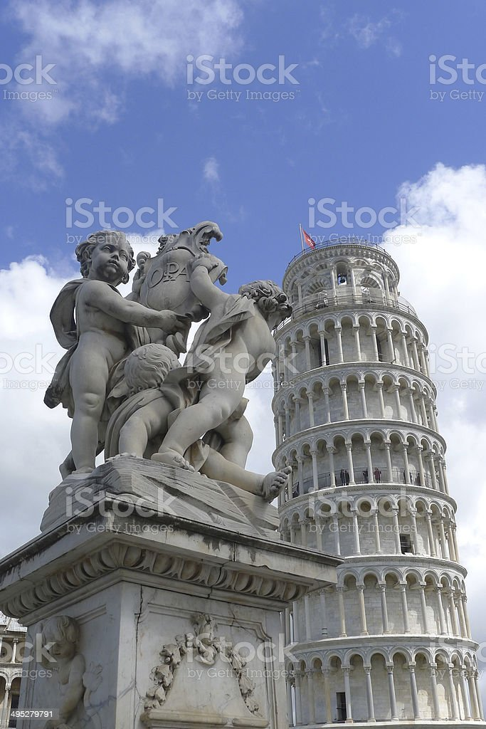 Leaning Tower of Pisa with Fontana dei Putti in foreground stock photo
