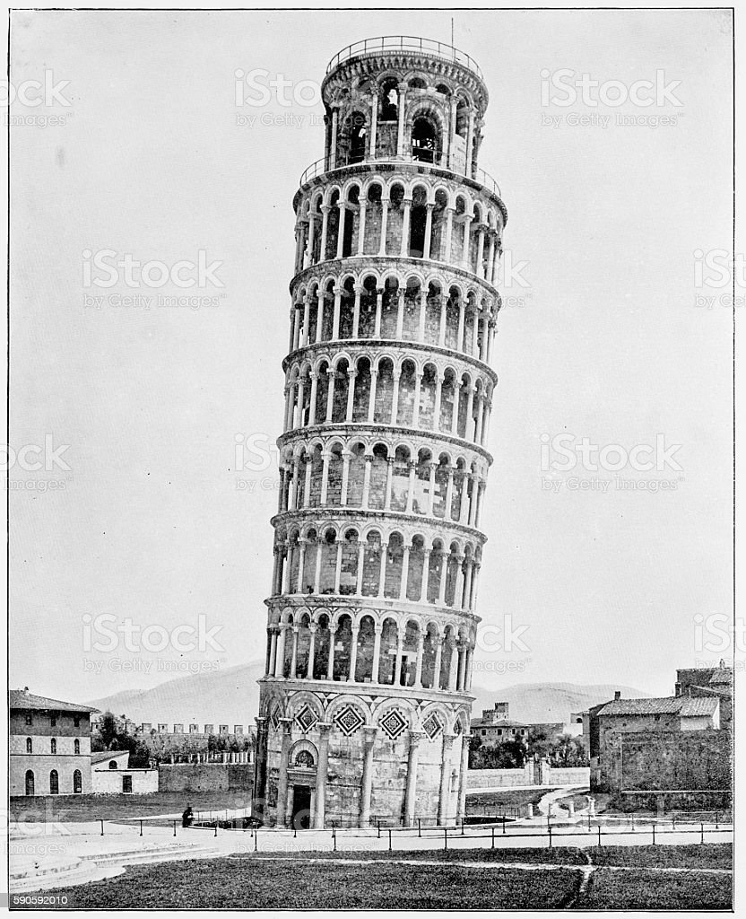 Leaning Tower, Pisa, Italy in 1880s stock photo