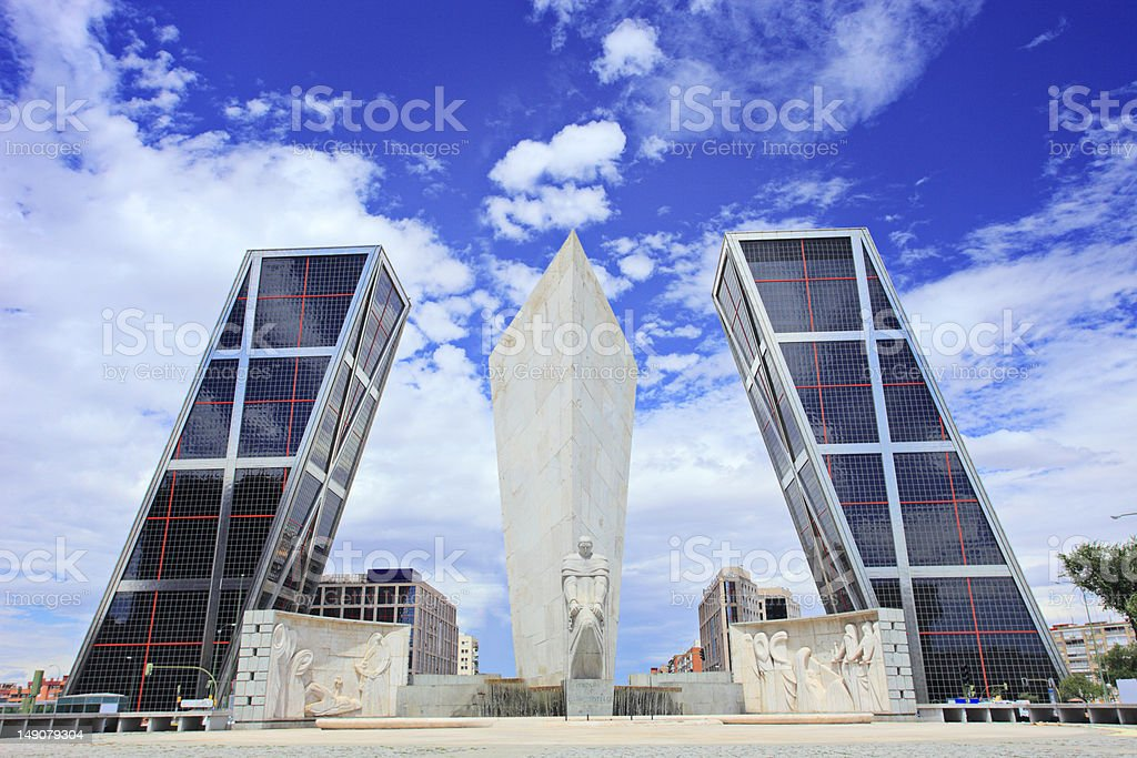 Leaning towers of Madrid (Puerta de Europa) stock photo
