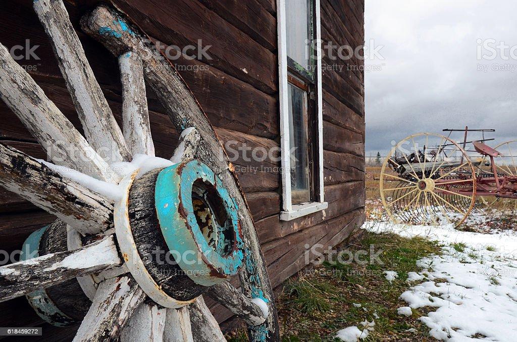 Leaning Wagon Wheel stock photo