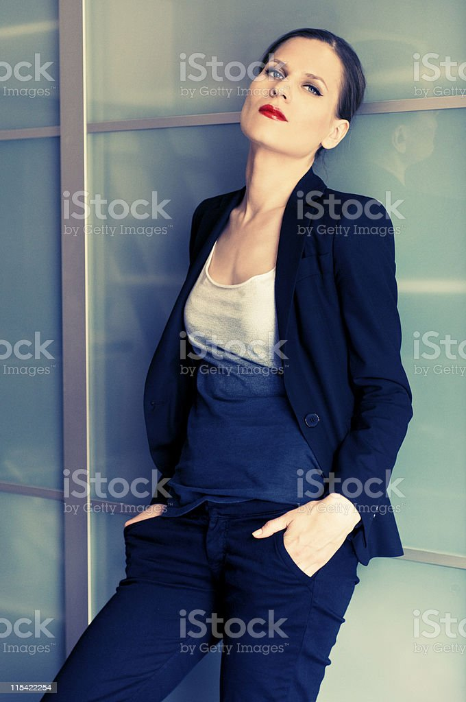 leaning woman royalty-free stock photo