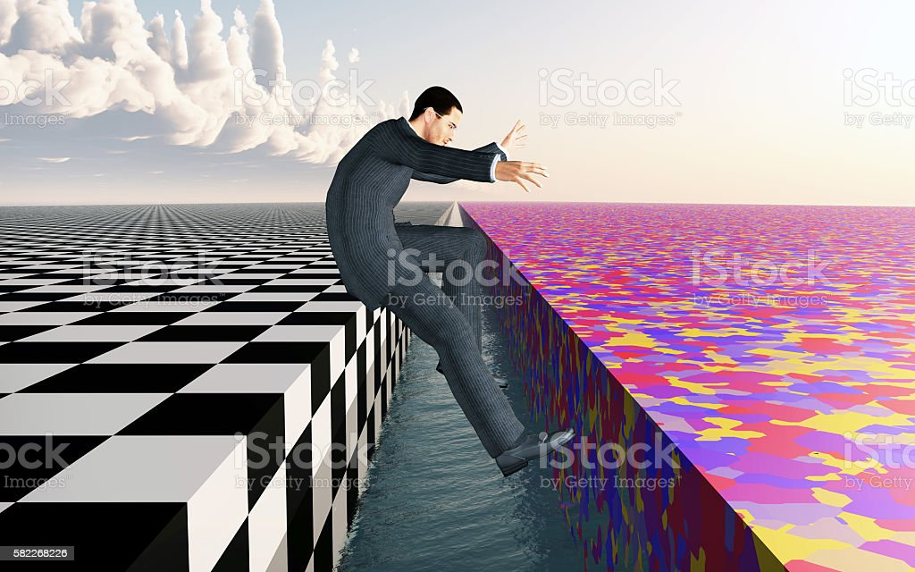 Leap into freedom stock photo