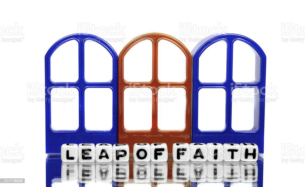 Leap of faith and three doors stock photo