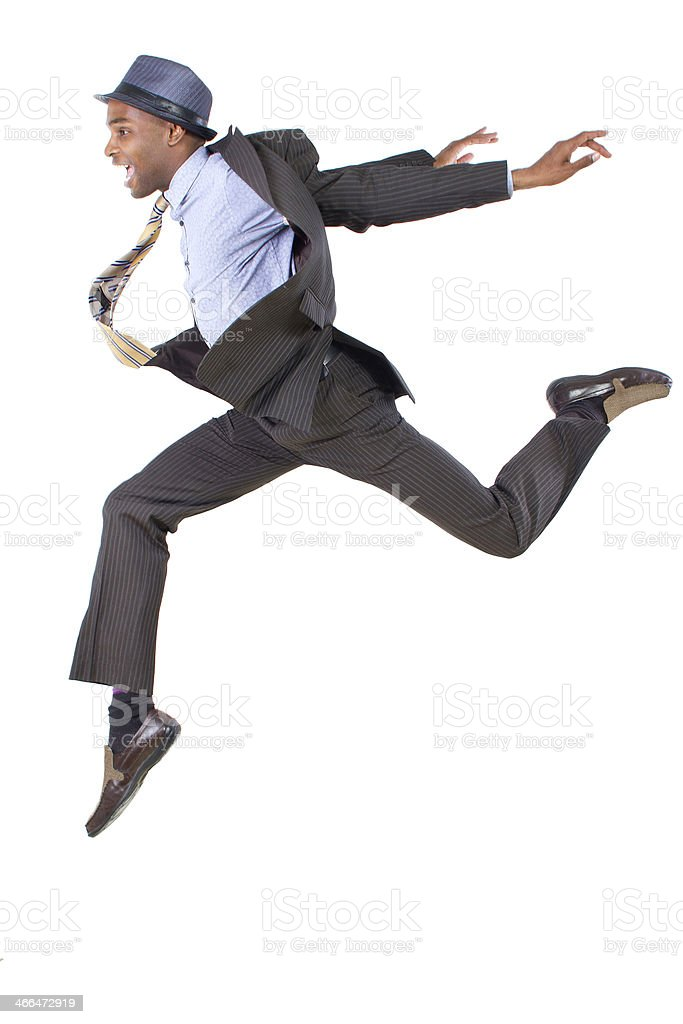 Leap of faith concept of businessman jumps high stock photo