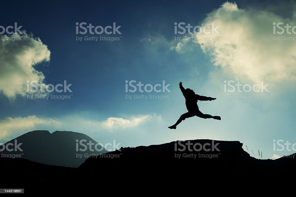 leap of financial freedom stock photo