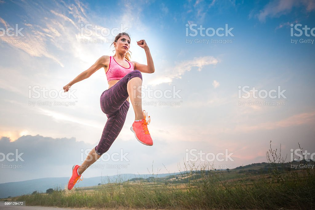 Leap of love and life stock photo