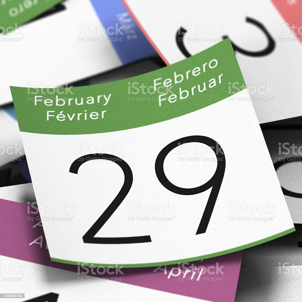 Leap Year February 29th stock photo