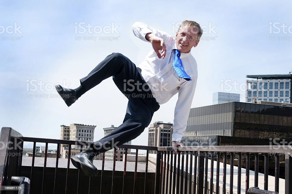 Leaping Businessman stock photo